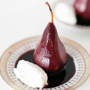 Holiday Mulled Wine Poached Pears